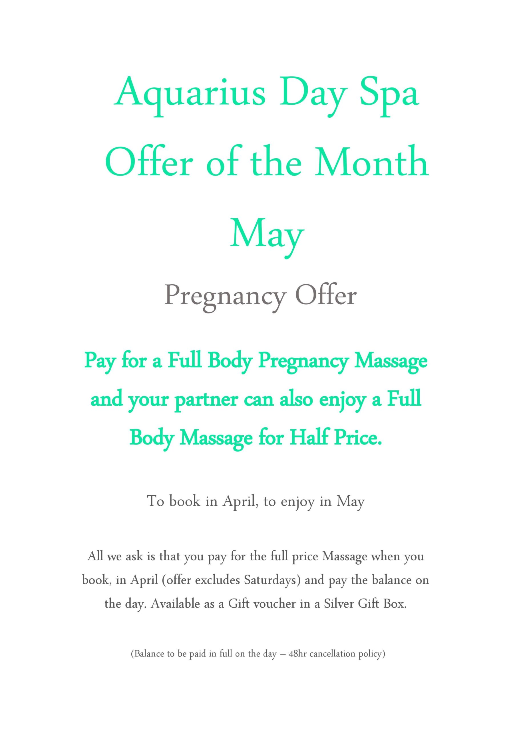 Aquarius Day Spa beauty Offer May 2019